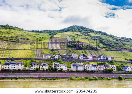 Rhine wine growing town of Lorch in Hesse, Germany - stock photo