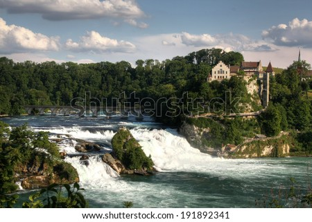 Rhinefall, the biggest European waterfall, Switzerland (HDR version) - stock photo