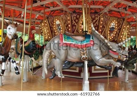 Rhinoceros circus - stock photo