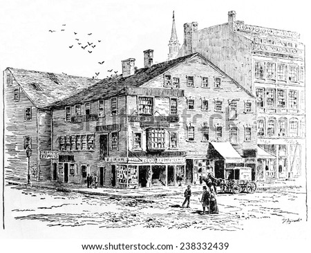 Rhode Island, Exchange Coffee House, constructed in 1750, 1-5 Market Square, Providence, ca 1750.
