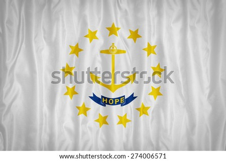 Rhode Island flag pattern with a peace on fabric texture,retro vintage style - stock photo