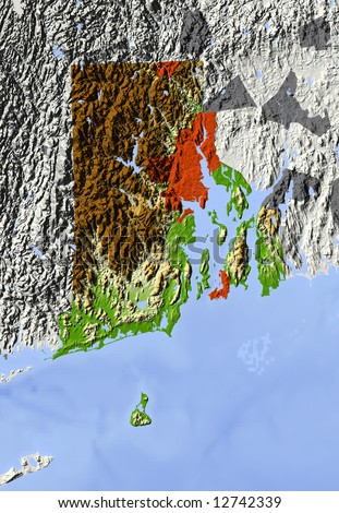Rhode Island. Shaded relief map.  Shows major urban areas and rivers, surrounding territory greyed out. Colored according to relative terrain height. Clipping path for the state area included. - stock photo
