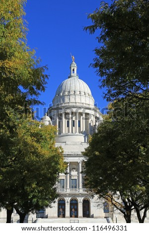 Rhode Island State Capitol building in downtown Providence - stock photo