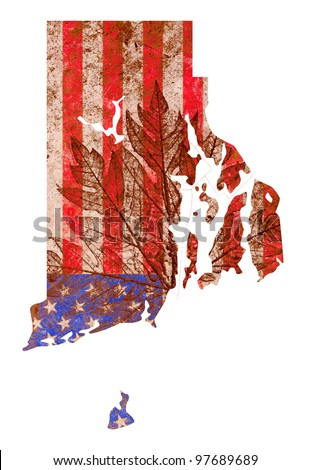 Rhode Island state of the United States of America in grunge flag pattern isolated on white background - stock photo