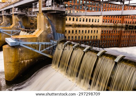 Rhode Island textile mill and waterfall - stock photo