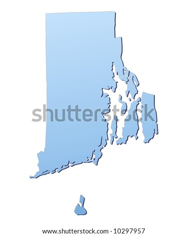 Rhode Island(USA) map filled with light blue gradient. High resolution. Mercator projection. - stock photo