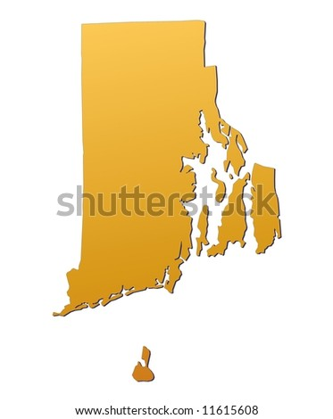 Rhode Island Usa Map Filled With Orange Gradient Mercator Projection