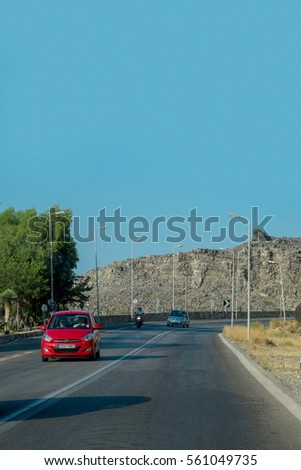 Rhodes, Greece - July 21: Rhodes roads on 21 July, 2016 in Rhodes, Greece. Rhodes is the largest of the Dodecanese islands in terms of land area and also the island group's historical capital.