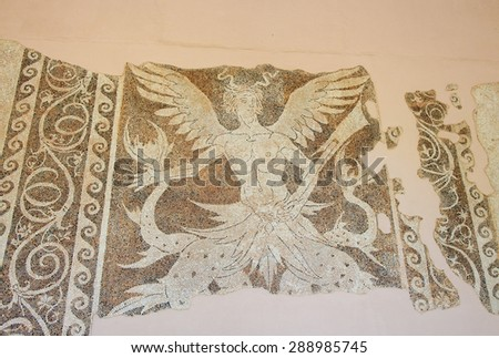 RHODES, GREECE - JUNE 12, 2015: Mosaic of a mythological creature at the Archeological Museum on Rhodes Island, Greece - stock photo