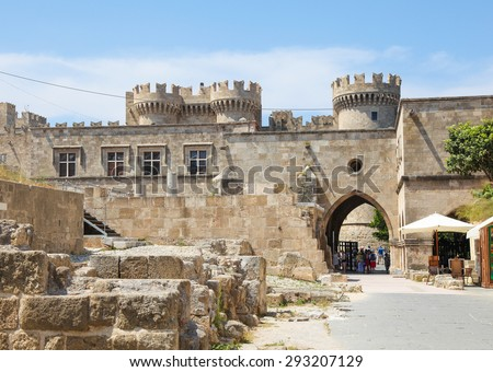 RHODES, GREECE - JUNE 7, 2015: Palace of the Grand Master of the Knights of Rhodes, a medieval castle of the Hospitaller Knights on the island of Rhodes, Greece. - stock photo