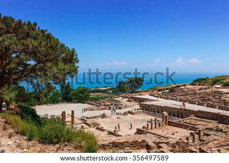 RHODES, GREECE - JUNE 13, 2015: Tourist attraction of Ancient city of Kameiros on the island of Rhodes. - stock photo