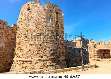 RHODES, GREECE - JUNE 13, 2016: Tower of the Fortifications of the Old Town of Rhodes - Gate of Saint Paul, Greece - stock photo