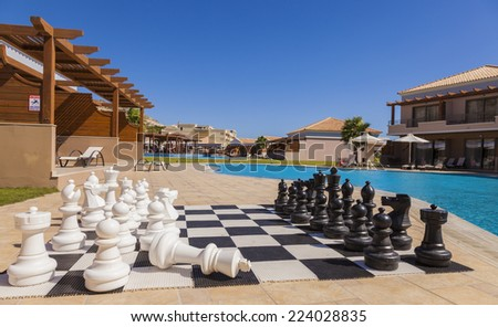 RHODES, GREECE - SEPTEMBER 19, 2014: La Marquise Luxury Resort Complex, hotel complex - chess board at the hotel - stock photo