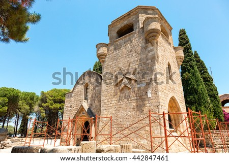 RHODES ISLAND, GREECE - JUNE 12, 2016: The Monastery of Filerimos was built in the 15th century by the Knights of Saint John on the island of Rhodes. - stock photo