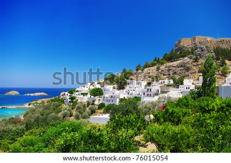 Rhodes island - view of  Lindos bay - stock photo