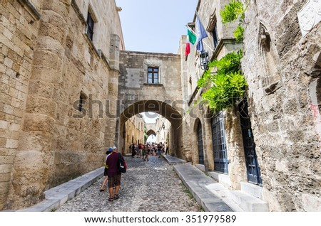 RHODES OLD CITY, RHODES-SEPTEMBER 08: Street of the Knights in Rhodes main city in September 08,2015 on Rhodes. The Knights street architecture was build in XVI century under Knights period of city. - stock photo