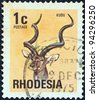 """RHODESIA - CIRCA 1974: A stamp printed in Rhodesia from the """"Antelopes"""" issue shows a Greater Kudu, circa 1974. - stock photo"""