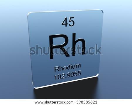 Rhodium symbol on a glass square - stock photo
