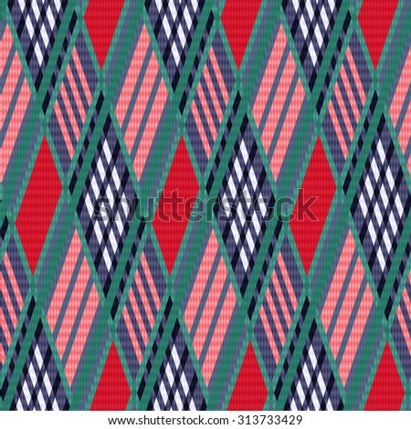 Rhombus seamless pattern as a tartan plaid mainly in red and blue colors