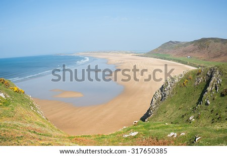 Rhossili Bay, often voted as one of the best beaches in Europe - stock photo