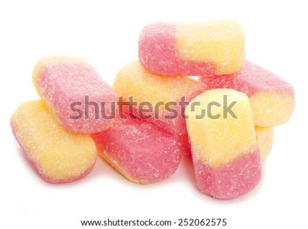 rhubarb and custard boiled sweets cutout - stock photo