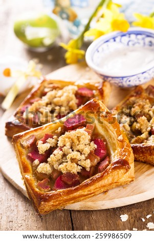 Rhubarb pies with oatmeal streusel for Easter - stock photo