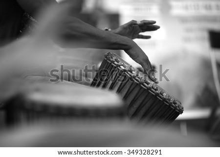 Rhythm of Africa, drum music - stock photo