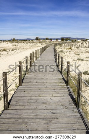 Ria Formosa wetlands natural conservation region landscape, View from Armona cost beach, one of the islands. Algarve, southern Portugal. - stock photo