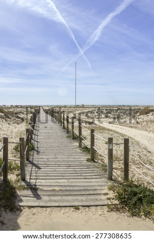 Ria Formosa wetlands natural conservation region landscape, View of Armona cost beach, one of the islands. Algarve, southern Portugal. - stock photo