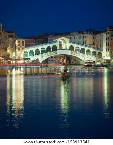 Rialto bridge at night, Venice, Italy - stock photo