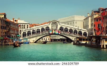 Rialto Bridge. Grand Canal in Venice, Italy - stock photo