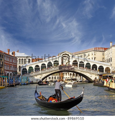Rialto Bridge, Grand Canal, Venice, Italy - UNESCO World Heritage Site - stock photo