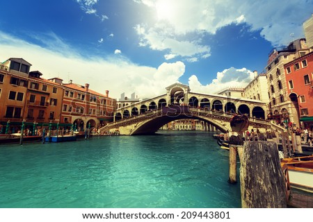 Rialto bridge in Venice, Italy - stock photo