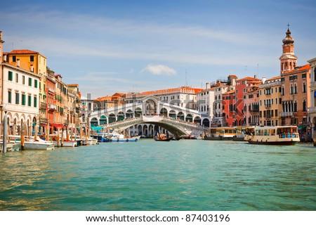 Rialto Bridge over Grand canal in Venice - stock photo
