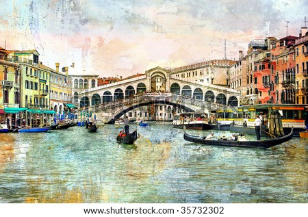 Rialto bridge - Venetian picture - artwork in painting style - stock photo