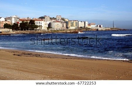 Riazor beach in La Coruna, Spain