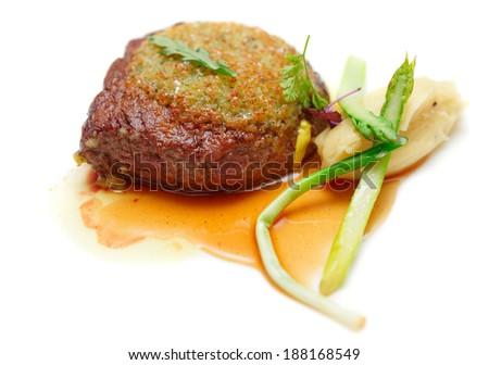 Rib eye steak with potato puree close-up, isolated on white - stock photo