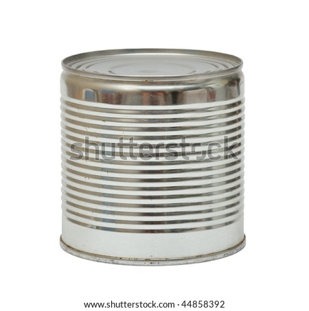 Ribbed aluminum can. Isolated over white. - stock photo