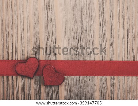 Ribbon and hearts - valentines background, vintage toning - stock photo