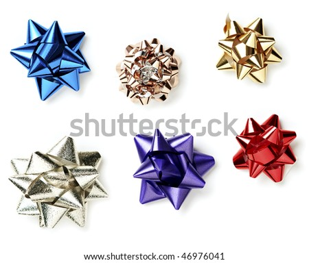 Ribbon Bows Isolated on White Background. Each ribbon photographed separately for optimal focus and resolution. - stock photo
