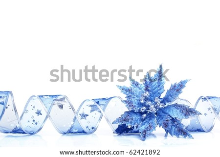 Ribbon curl with blue  Poinsettia on white background - stock photo