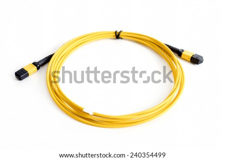 Ribbon fiber optic patchcord with connector MTP isolated on white background - stock photo