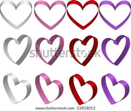 Ribbon Hearts Illustration - stock photo