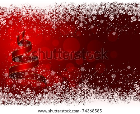 Ribbon in the form of the Christmas tree with stars and snowflakes on red background, illustration - stock photo
