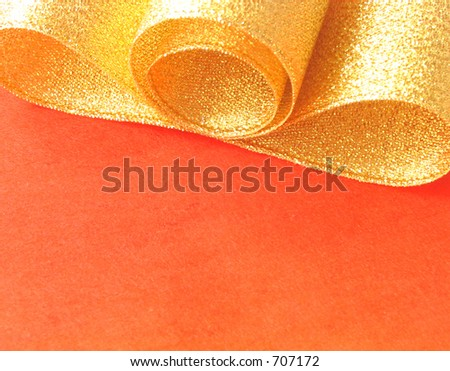 ribbon on red paper