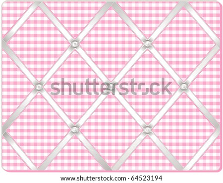 Ribbon Pin Board.  Tuck your favorite photos into this old fashioned bulletin board made of pastel pink gingham fabric, buttons and crisscross white satin ribbons. - stock photo