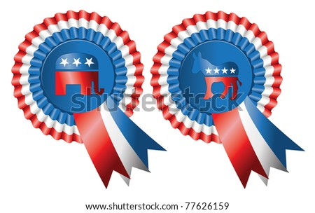 Ribbon style buttons for both Republican and Democratic Parties featuring the elephant and donkey logos, editorial. - stock photo