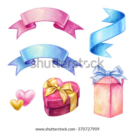 ribbon tags and gift boxes, watercolor illustration, valentines day design elements isolated on white background, party clip art - stock photo