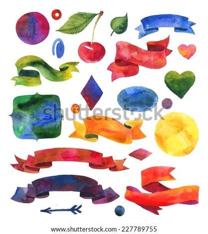 Ribbon watercolor elements set. Hand-drawn watercolor design background, label, cherry, ribbon, arrow, leaf, circle, heart. - stock photo