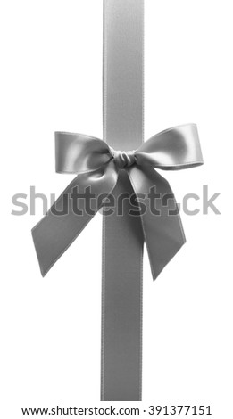 Ribbon with bow, isolated on white - stock photo
